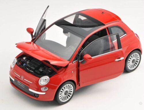 Spedizione LAMPO FIAT 500 2007 ROSSO//RED Welly Modello Auto 1:24 NUOVO /& OVP 22514
