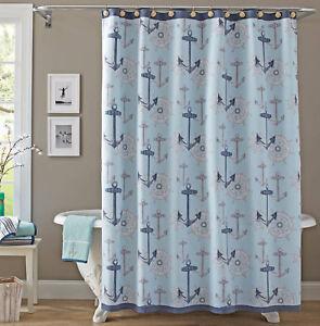 Details About Aqua Blue Nautical Anchor Wheel Fabric Shower Curtain Beach House Decor