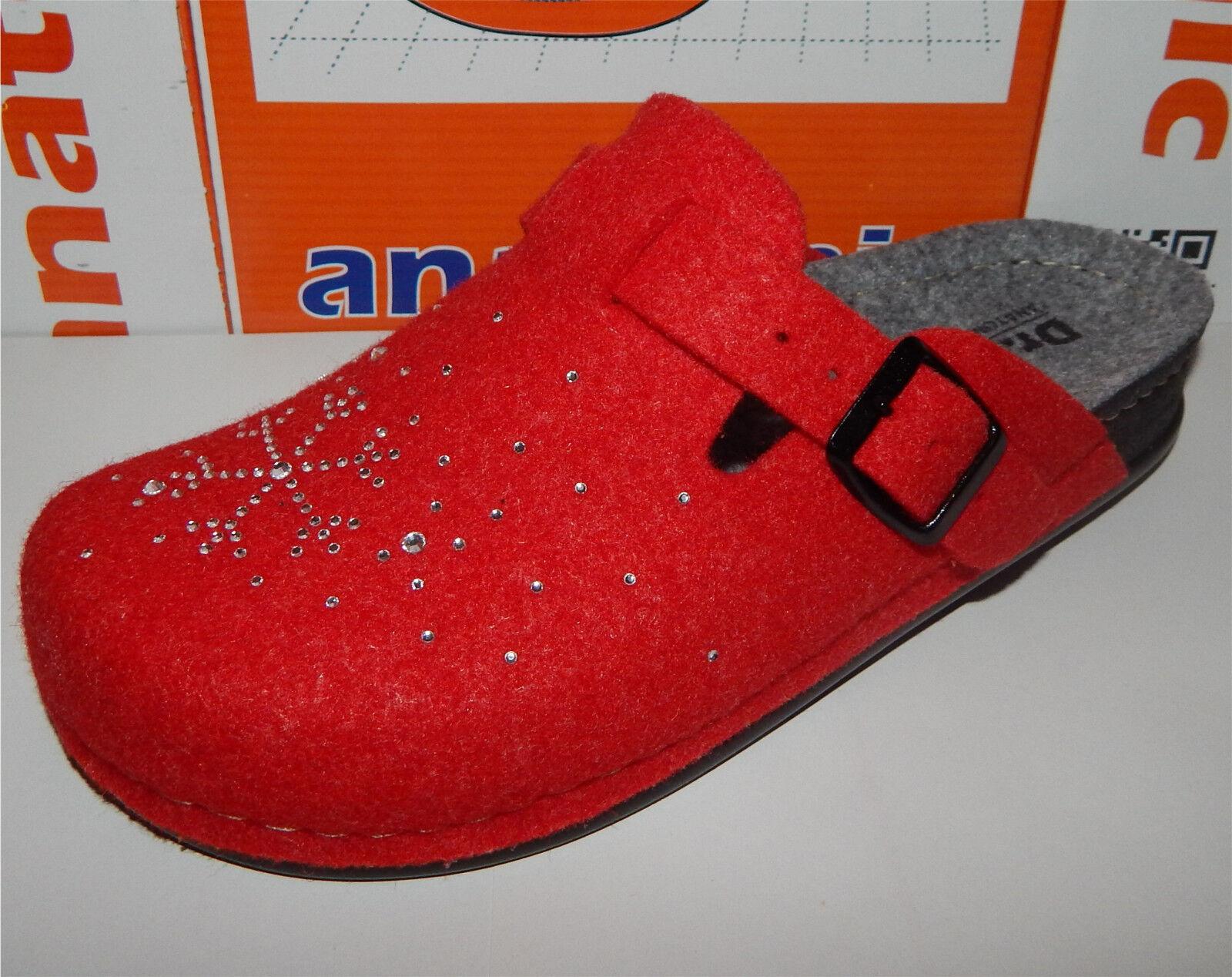 Dr.Feet Hausschuhe Pantoletten Damen-Pantoffe<wbr/>ln Puschen Schlupfer rot 36 37 38