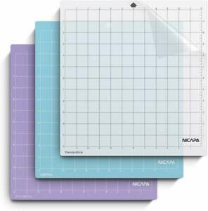 Nicapa-Variety-Adhesive-Cutting-Mat-for-Silhouette-Cameo-4-3-2-1-12x12inch-3pack