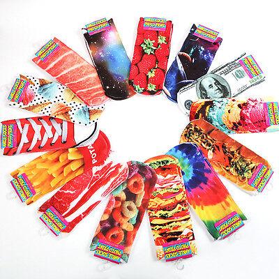 3D Printed Harajuku Style Low Cut Ankle Socks Multiple Pattern Fashion