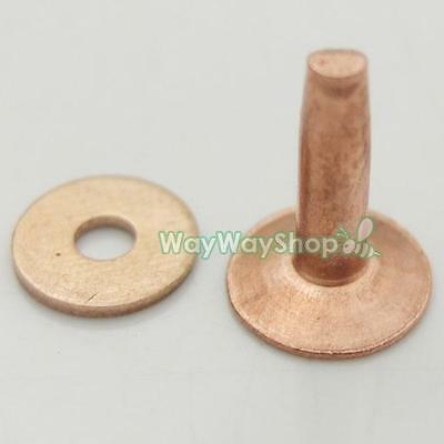 Solid Red Copper Rivets & Burrs Permanent Fasteners Gauge Leathercraft Tack