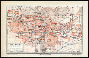 Karlsruhe Map Of Germany.Details About Antique Map Karlsruhe Germany Meyers 1902