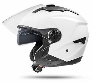 LA-Street-Jethelm-Weiss-M-mit-Visier-Sonnenblende-ECE-2205-Motorradhelm-Roller