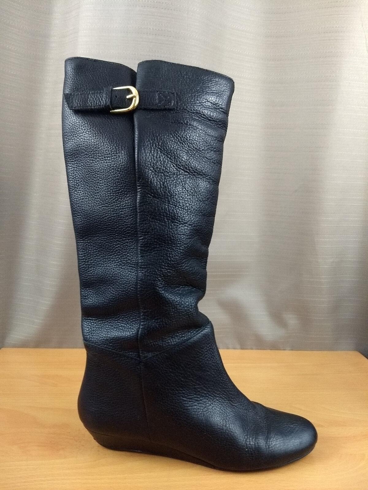 Aldo Black Knee Boots Platform Wedge Side Buckle Pull On Size 7