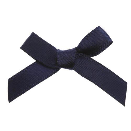 Bleu Marine 3 cm//7 mm Satin prêts Mini Ribbon Bows Pack de 20-Craft À faire soi-même