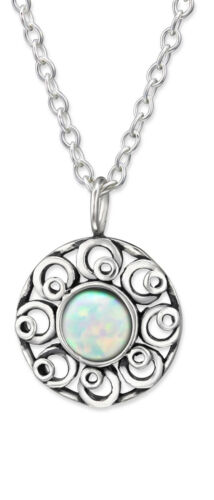Flower with created Opal pendant charm 925 Sterling Silver ladies necklace