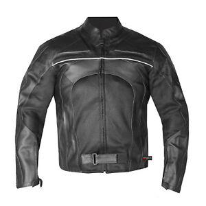 New-Men-039-s-Razer-Motorcycle-Biker-Armor-Mesh-amp-Leather-Black-Riding-Jacket