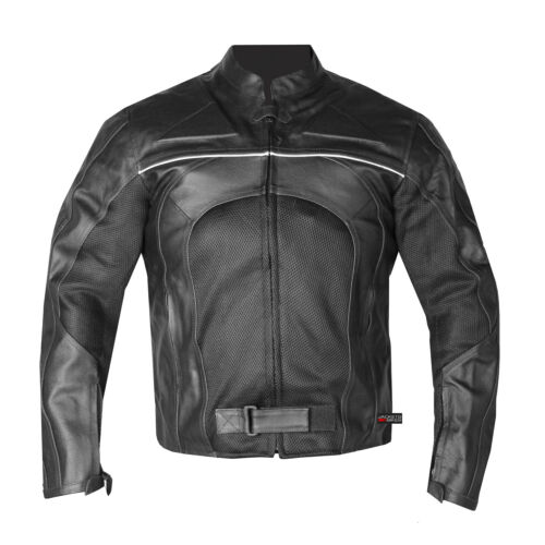 New Men/'s Razer Motorcycle Biker Armor Mesh /& Leather Black Riding Jacket