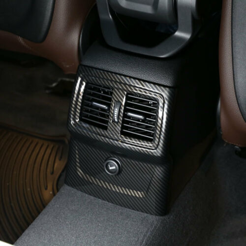Carbon Fiber Style Rear Row Air Vent Outlet Cover Trim For BMW X1 F48 2016-2018