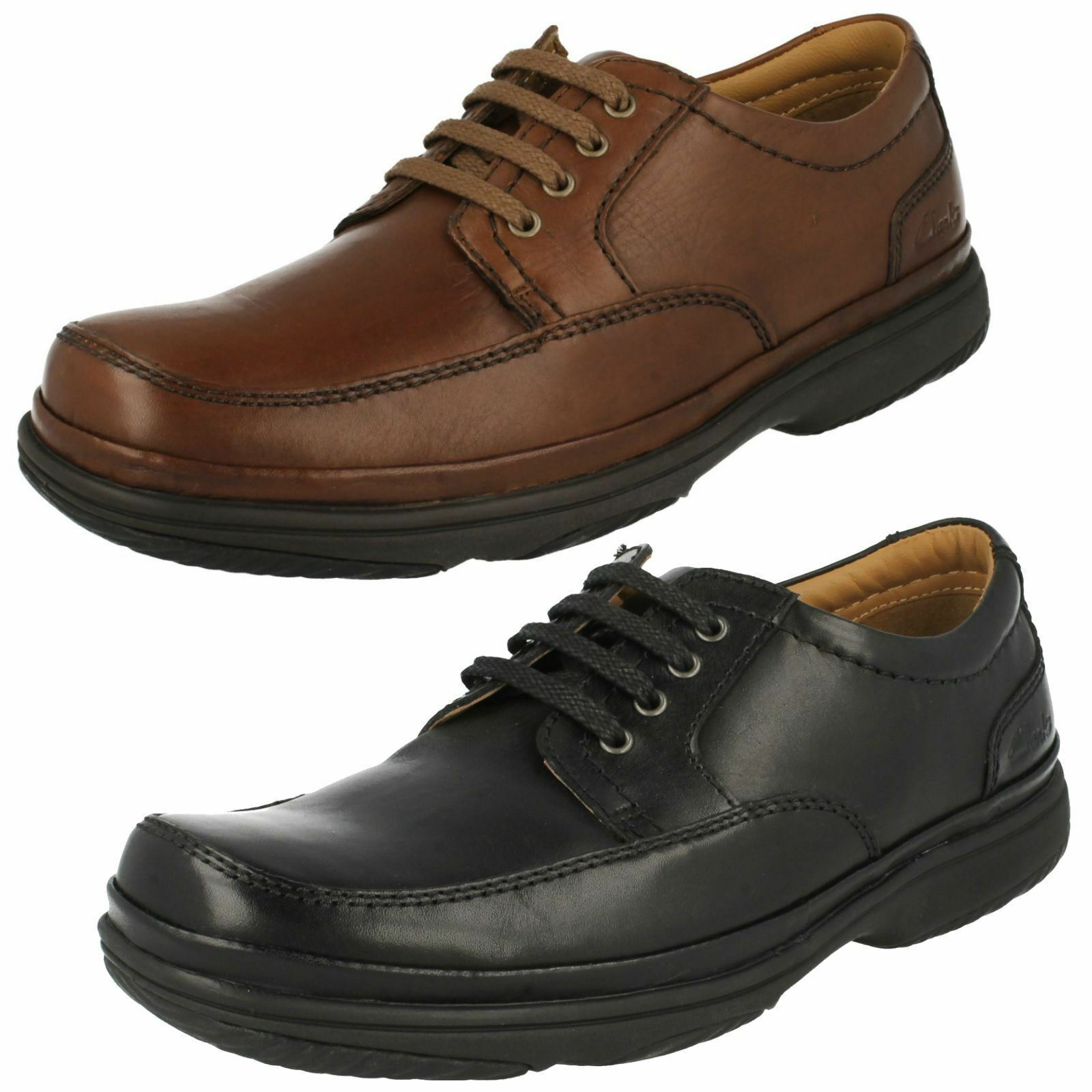 MENS CLARKS LEATHER LACE UP FLEXLIGHT WIDE CUSHIONED CASUAL SHOES SWIFT MILE