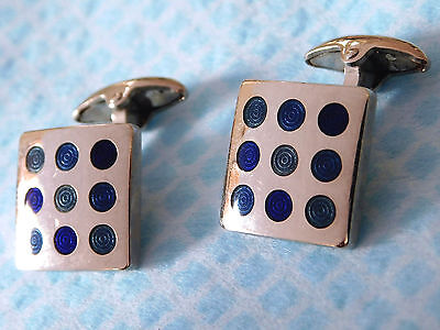 Jasper Conran cufflinks silvertone with blue circles