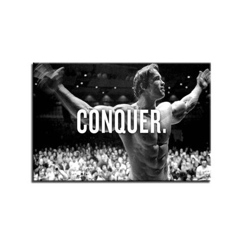 Arnold Schwarzenegger Conquer Bodybuilding 1 Panel Canvas Print Wall Art