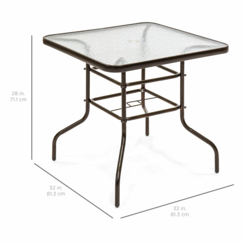 """32/"""" Brown Square Tempered Glass Top Patio Dining Table Steel Frame Umbrella Hole"""