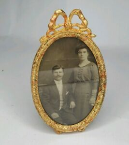 Antique-Victorian-Picture-Frame-Ribbon-Bow-Swag-Oval-Gilt-Metal-Gold