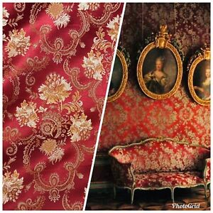 NEW-Designer-Brocade-Jacquard-Fabric-Roses-Floral-Upholstery-Red