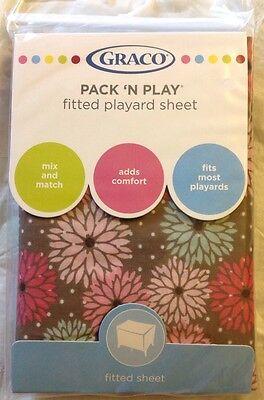 GRACO Pack N Play Fitted Playard Sheet Posie Brown Flowers New NIP
