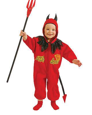 LITTLE DEVIL JUMPSUIT red fleece hood toddler boys girls kids halloween costume