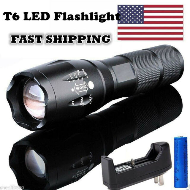Police 200000LM T6 LED Super Bright Zoom Flashlight Powerful Camping Lamp Torch