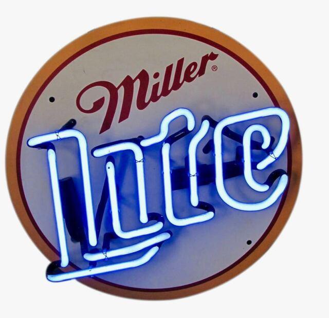 NEON SIGN VINTAGE MILLER LITE BEER NASCAR METAL BUD