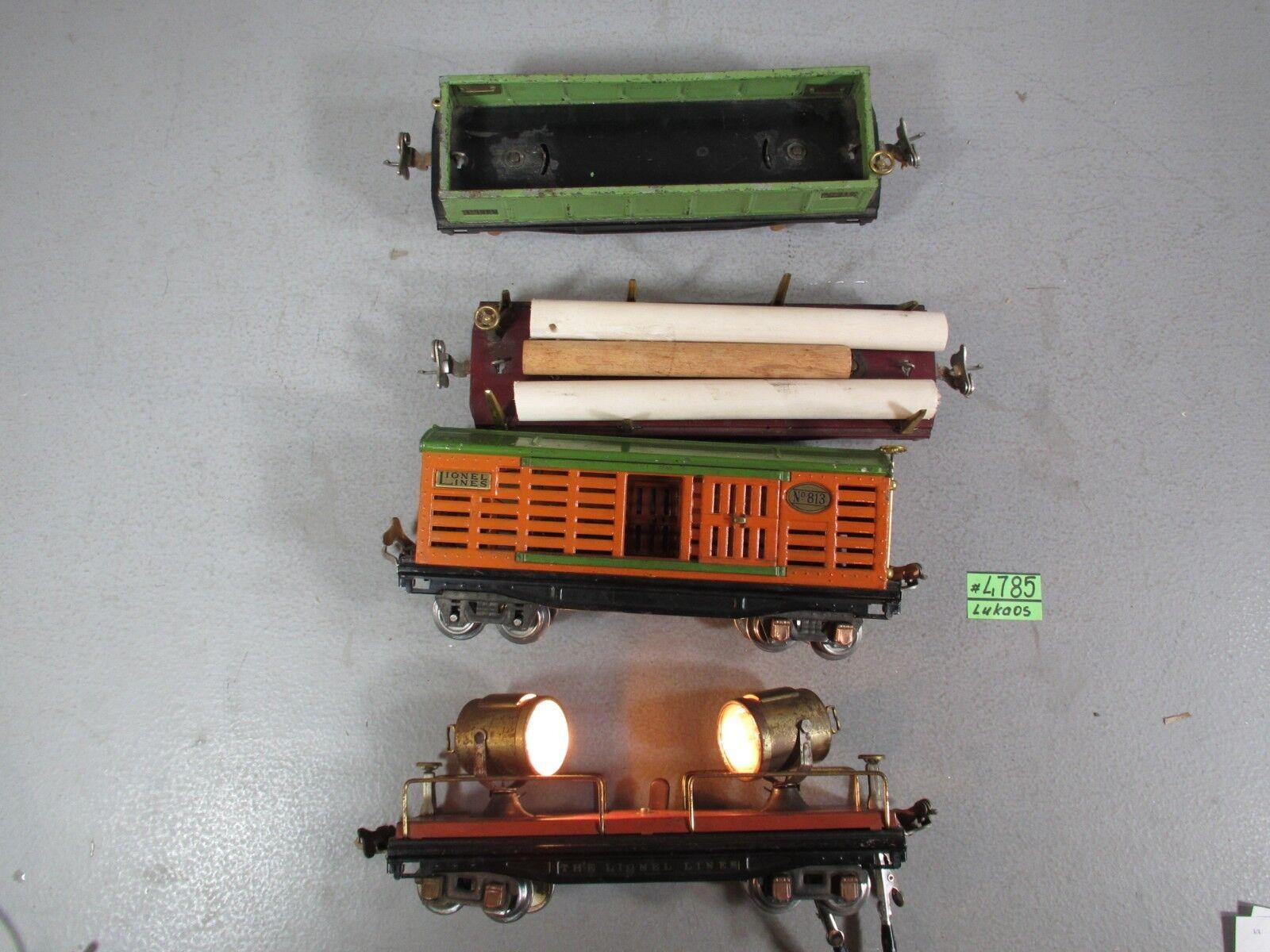 4 Pre Guerra Lionel o calibre 811,812,813,820 vagones de Cochega