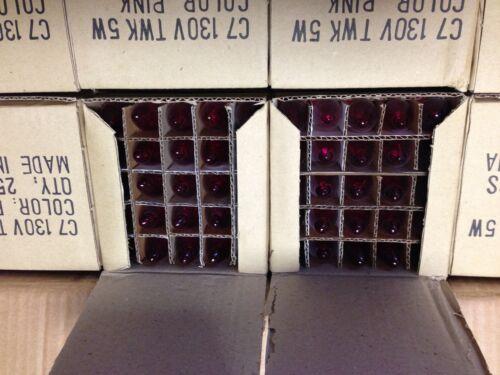 50 C-7 PINK TWINKLE 5 WATT 130 VOLT LIGHT BLUBS CHRISTMAS LIGHTS