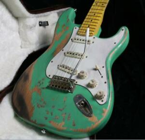 NEW-Top-Quality-Relic-ST-Electric-Guitar-Eged-Hardware-Alder-Body-Sea-Green