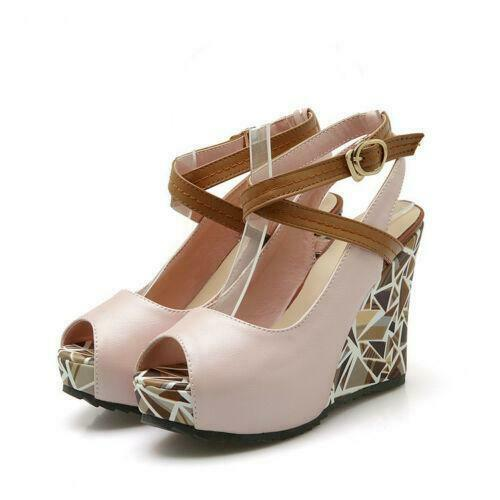 Details about  /Ladies Sandals Leather Peep Toe Wedge Cross-Strap Slingback Platform Shoes Hot