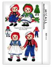 Raggedy Ann & Andy Rag Doll + Clothes Cape Dress Cloth Sewing Pattern McCALL 820