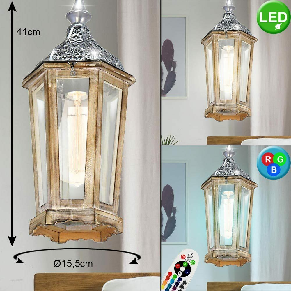 LED Vintage Hanging Lantern Filament Dimmer RGB Remote Control Ceiling Luminaire
