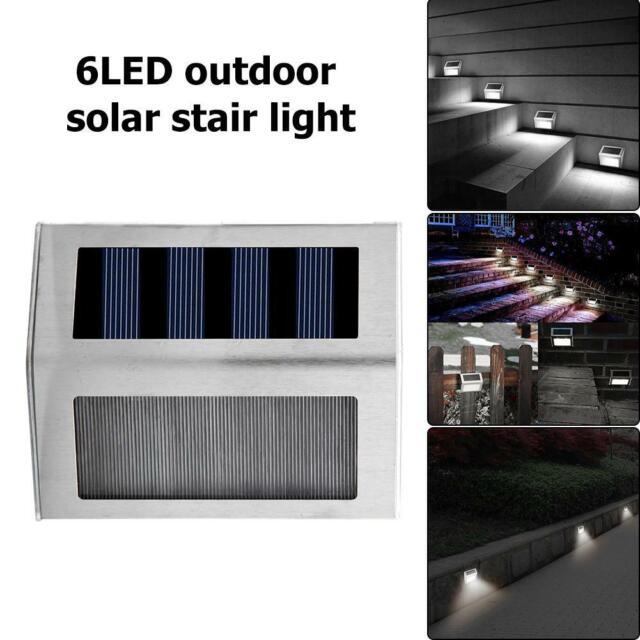 6LED Solaire Escalier Lumière Acier inoxydable Extérieure Jardin Rue Lampe IP64