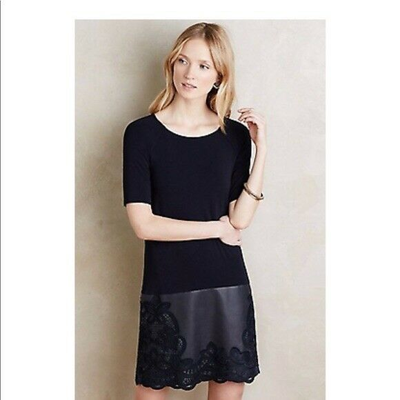 NWT Anthropologie Dress Womens Bailey 44 Navy Mixed Media Vegan Leather Large