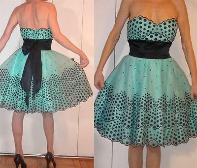 BETSEY JOHNSON MINI GREEN SILK CUPCAKE BABYDOLL STRAPLESS DRESS SCALLOPS TRIM 6