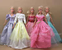 Lot 5 Girls Baby Gift Dress Evening Party Gown Clothes For Barbie Doll Toys