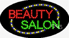 "NEW ""BEAUTY SALON"" 27x15 OVAL SOLID/ANIMATED LED SIGN w/CUSTOM OPTIONS 24026"