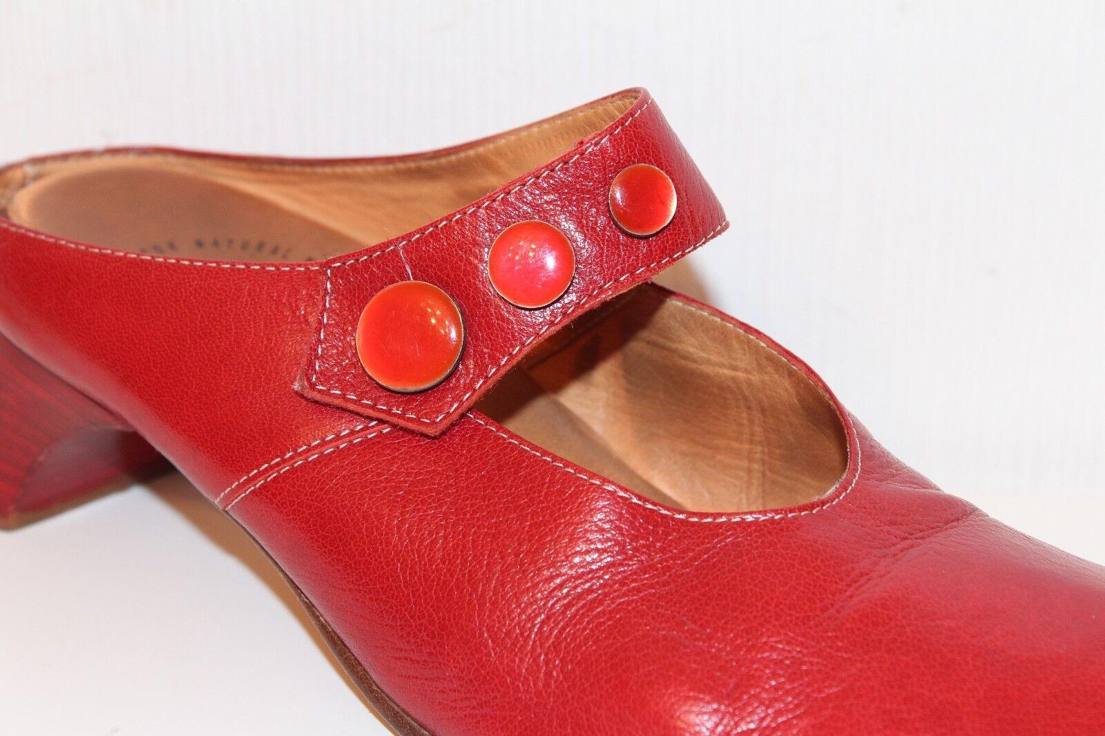 THINK   ECHTLEDER Damen Schuhe MULES Pumps 38 rot RED leather shoes UK5 LEDER RED rot 2c2fd7