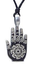 Pewter HAMSA / HAND of FATIMA Pendant on Black Cord Necklace Nickel Free Hindu 3