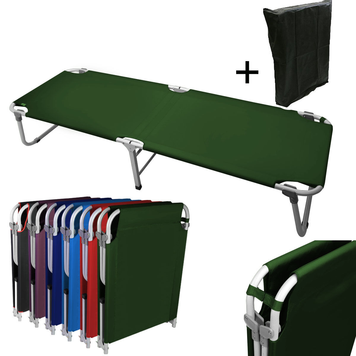 Portable 24.5  W Military Cots Fold Up Bed Hiking Travel Camping -Green+Free Bag