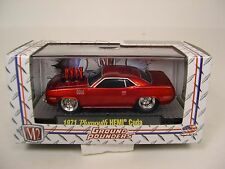 M2MACHINE 1:64 SCALE DIECAST METAL CANDY APPLE RED 1971 HEMI CUDA GROUND POUNDER