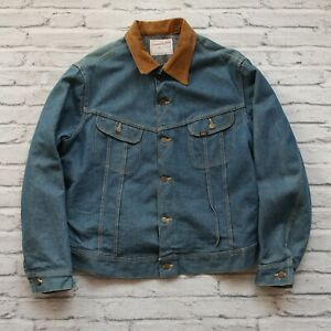 Vintage-Lee-Storm-Rider-Blanket-Lined-Denim-Trucker-Jean-Jacket-Size-L-XL