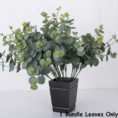 Artificial Large Leaves Green Plant 15//16 Branches Eucalyptus Grass Home Decor