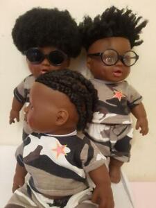 uk cute black  brownmixed race12in boy doll afro hair