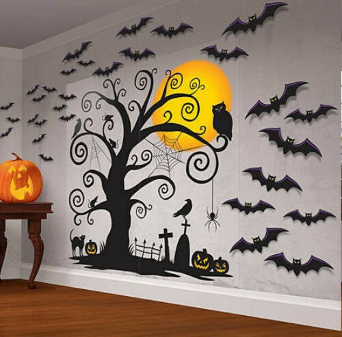 Beautiful Creepy Halloween Wall Decoration Set 30 pieces Bat Owl Moon Tombston
