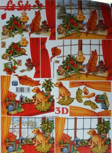 Christmas 3D A4 Paper Tole Decoupage Cats Dogs Mice Robins Mouse