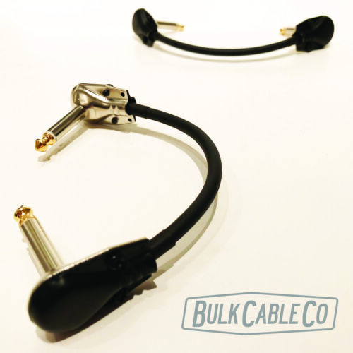 """TWO MOGAMI 6/"""" PEDAL BOARD PATCH 2319 CABLES W// BLACK//GOLD RA PANCAKE CONNECTORS"""