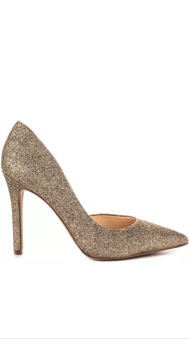 Jessica Simpson Claudette 10 M Soft Gold Dusty New Glitter Pointed Stiletto Pump New Dusty eeffc4
