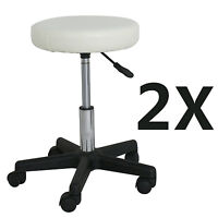 2 Pc Salon Rolling Stool Adjustable Height For Massage Office And Medical White