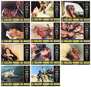 LE COLLINE HANNO GLI OCCHI FOTOBUSTE 11 PZ WES CRAVEN HORROR 1977 LOT LOBBY CARD