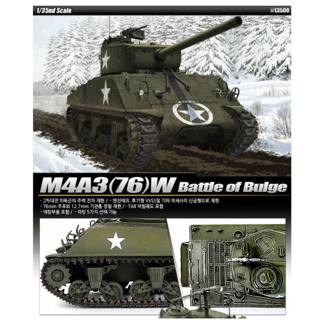 ACADEMY #13500 1/35 Plastic Model Kit M4A3(76)W Battle of Bulge