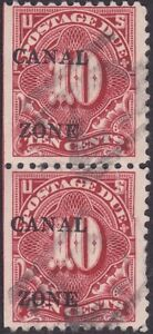 Canal Zone - 1925 - 10 Cents Carmine Rose Overprinted Postage Due #J20 Used Pair